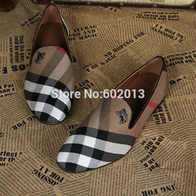 Men leather shoes British Famous Brand B Gingham casual shoes luxury Autumn Loafers top quality plaid flat shoes party