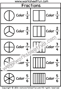 Coloring Fractions – Halves, Thirds, Fourths, Fifths, Sixths ...