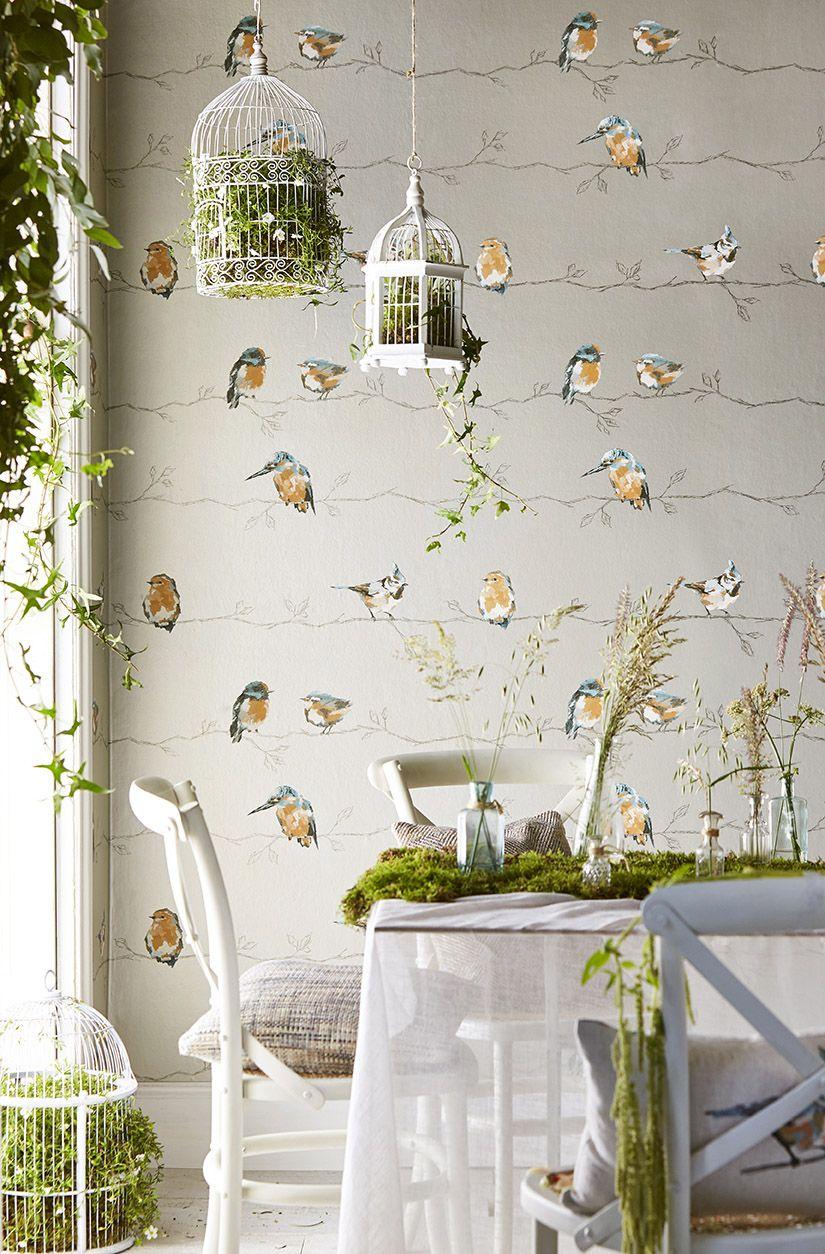 Persico by Harlequin Tangerine / Duck Egg Wallpaper