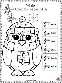 Winter Music Activities: 8 Winter Color by Music Notes  Winter