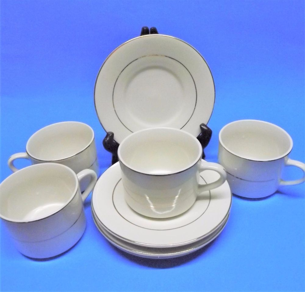 5 Sets Cup \u0026 Saucer Totally Today Royal Gold Pattern White w/Gold Trim EUC #TotallyToday & 5 Sets Cup \u0026 Saucer Totally Today Royal Gold Pattern White w/Gold ...