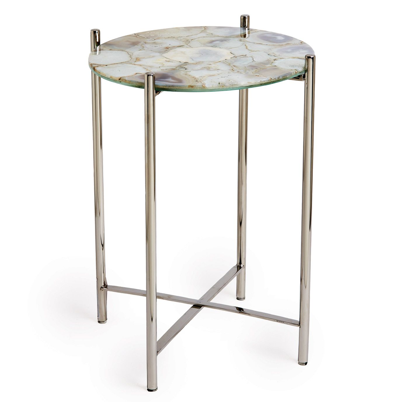 Agate white round side table laylagrayce 2 by banquette