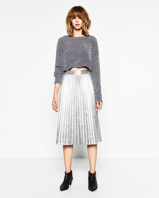 bf968195 Image 5 of SHINY CROPPED SWEATER from Zara Cropped Sweater, Shopping Lists,  Midi Skirt