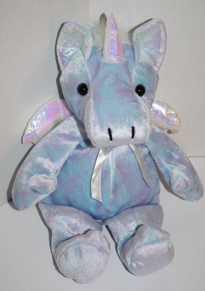 Kellytoy Unicorn Purple Blue Pastel Plush Iridescent Horn Wings