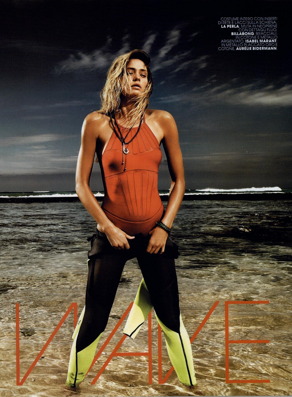 da7fef05633ed In Marie Claire Italia, the La Perla Dunes non-wired swimsuit in red with  striking transparent tulle details.