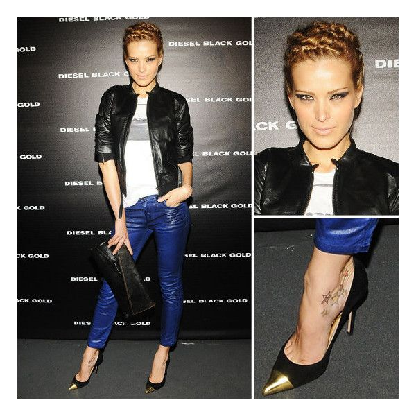 NYFW Petra Nemcova Pairs Blue Leather Pants With Cap-Toe Pumps ❤ liked on Polyvore