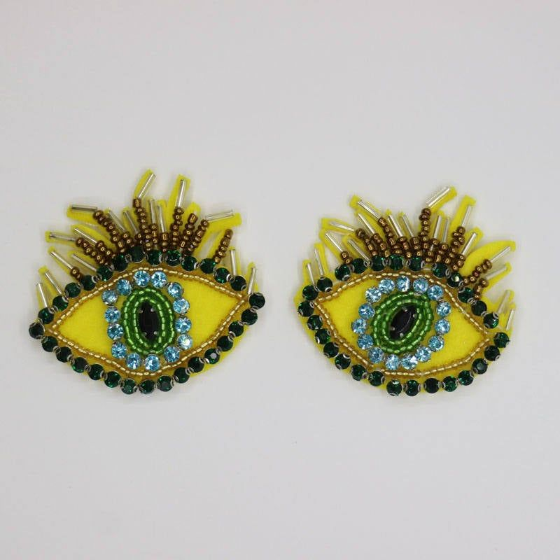 1pair Eyes With Eyelash Handmade Rhinestone Beaded Patches