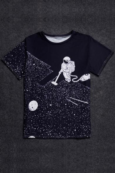 637935ff408b2 Digital Astronaut Printed Round Neck Short Sleeve Pullover Stylish T-Shirt