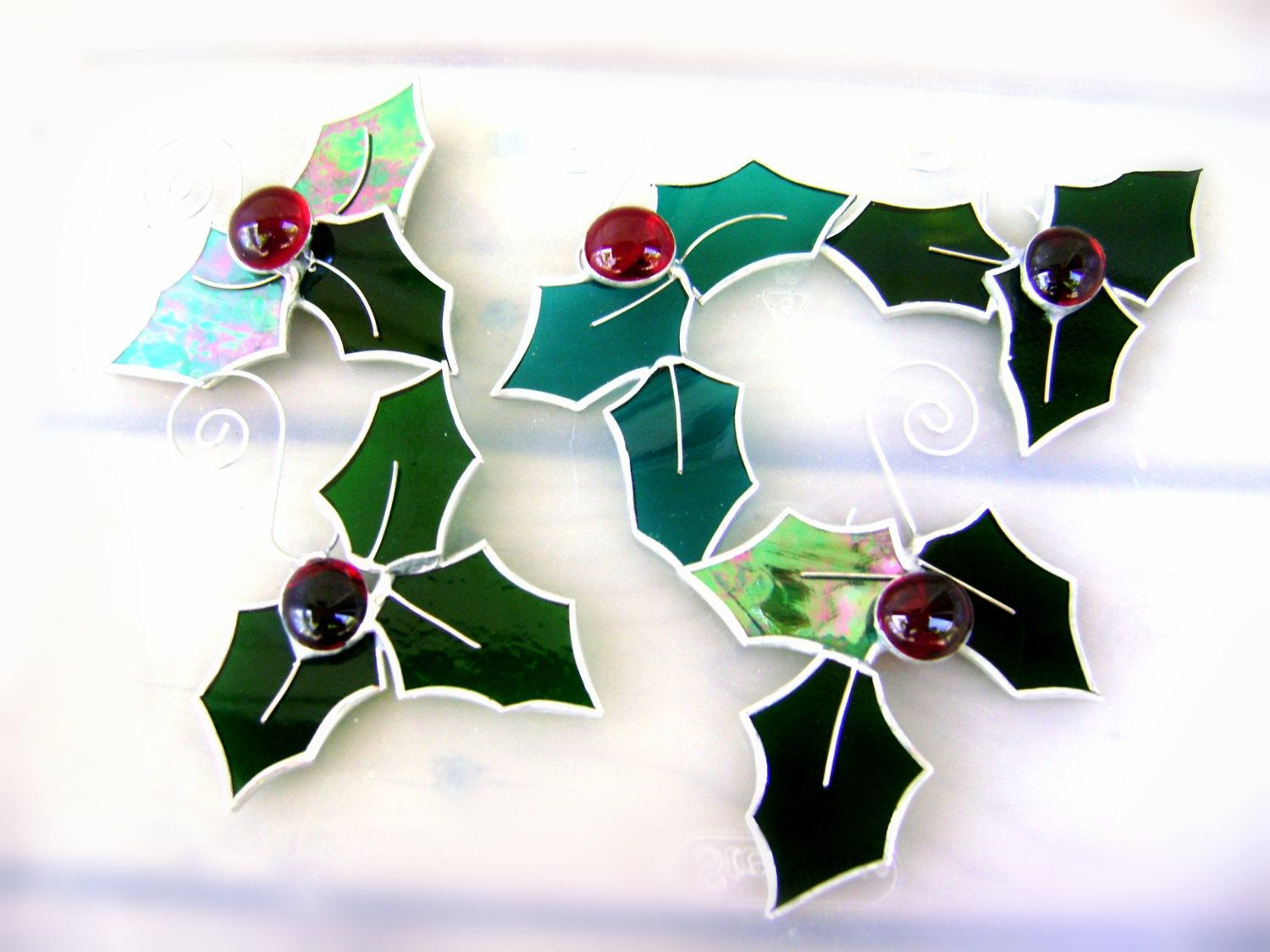 Holly christmas ornaments - Holly Berry Stained Glass Christmas Evergreen Yule Christmas Ornaments Suncatchers Canadian Handmade Pagan Winter Solstice Original
