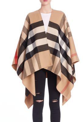 9e5433248ba Shop Burberry Charlotte Reversible Check Wool Cape on ShopStyle.com ...