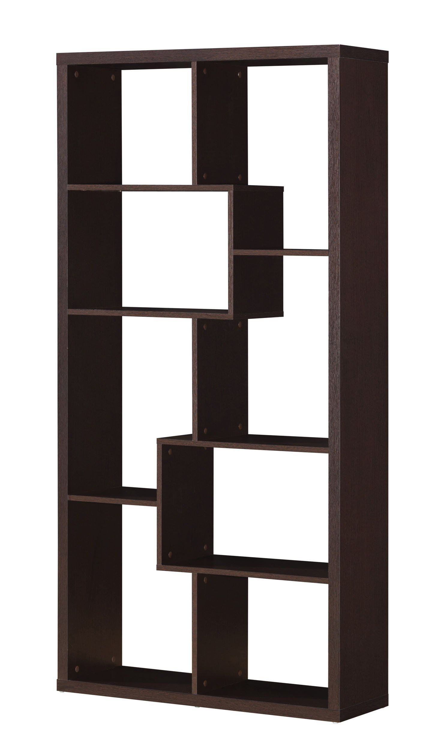 Spacious bookcase cappuccino brown by acme