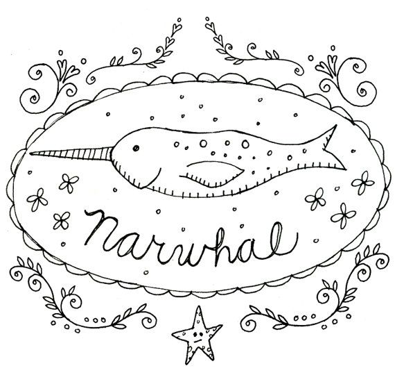 Narwhal Embroidery Pattern Printables Cryptozoology Cryptid Download ...