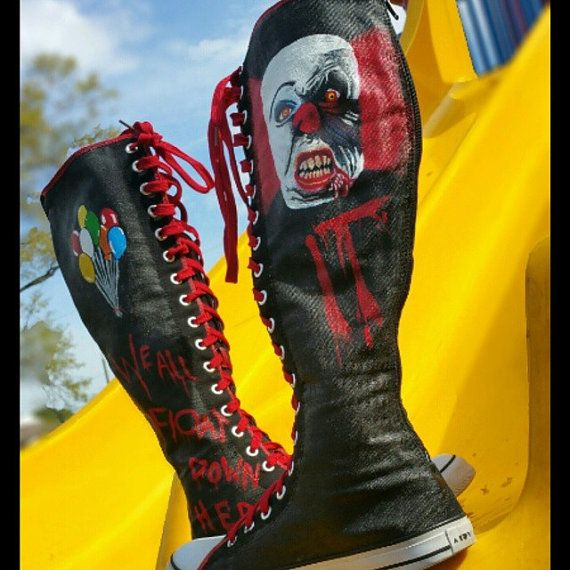 Knee High Pennywise the Clown Hand Painted Shoes