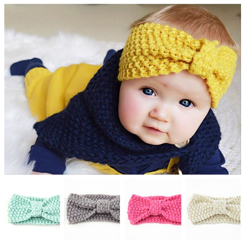 New Kids Girl Baby Toddler Winter Crochet Bow Headband Hair Band Accessories