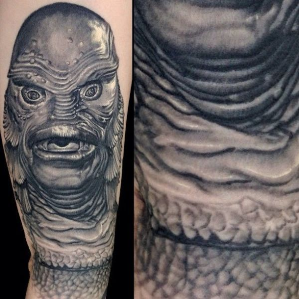 """13 Horror Movie Tattoos that will make you jump out of your skin. #2 Creature from the Black Lagoon. Nikko Hurtado's depiction of the 1954 classic. """"Back in my day, monsters were black and white!"""""""
