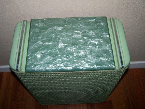 Vintage 50s Green Wicker And Wood Laundry Hamper Made By
