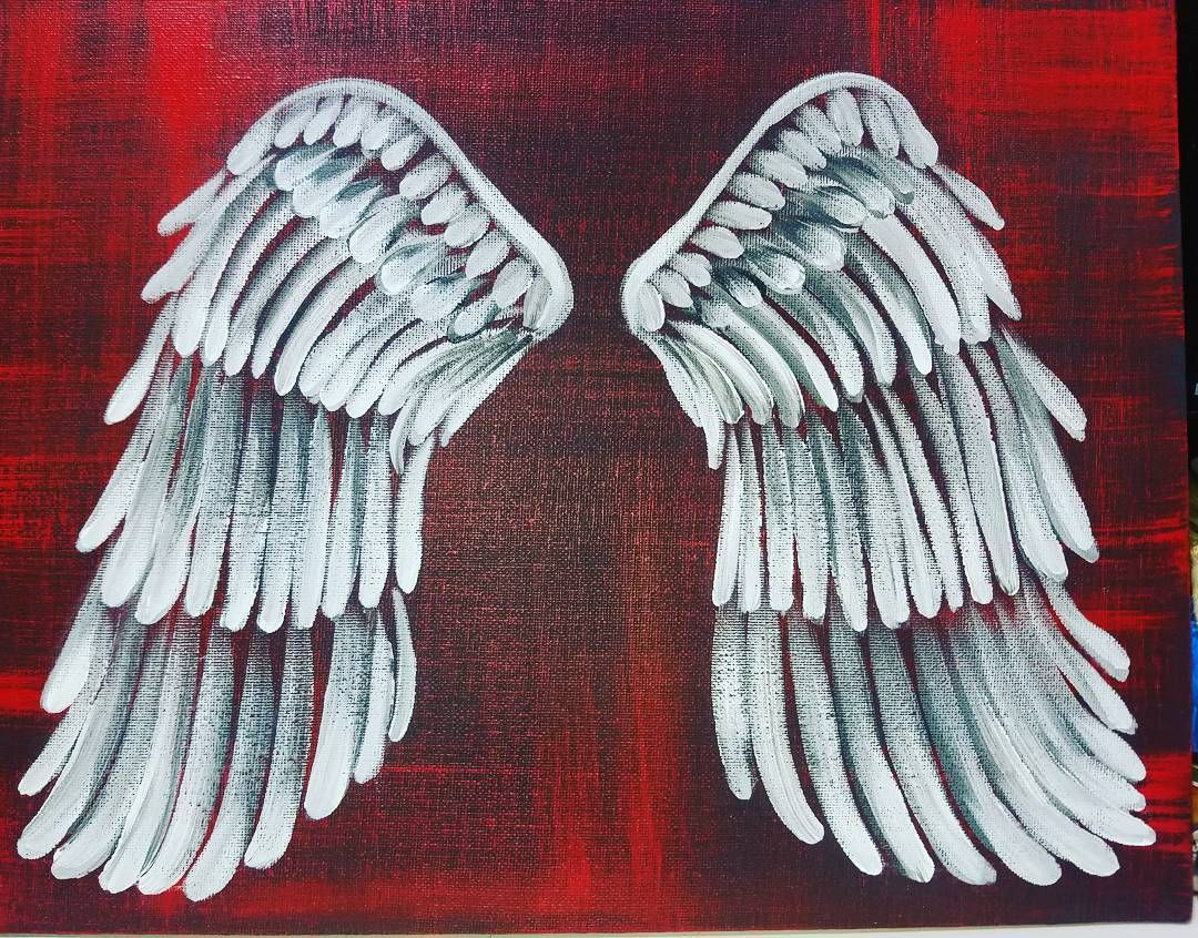 How to Paint Easy Angel wings on canvas Acrylic Painting Tutorial on ...