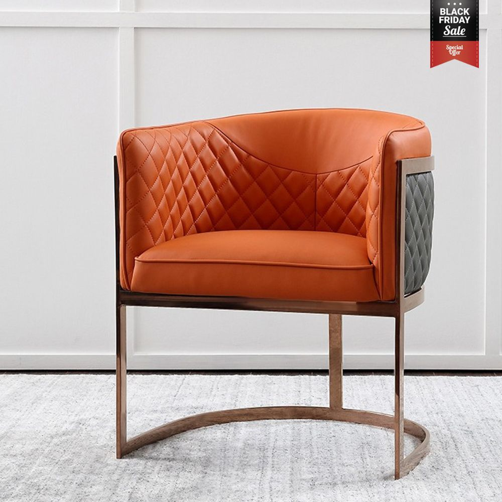 Club Chair Orange Gray Faux Leather Barrel Chair Rose Gold Accent Chair Luxurious Chair Luxury Chairs Accent Chairs Gold Accent Chair