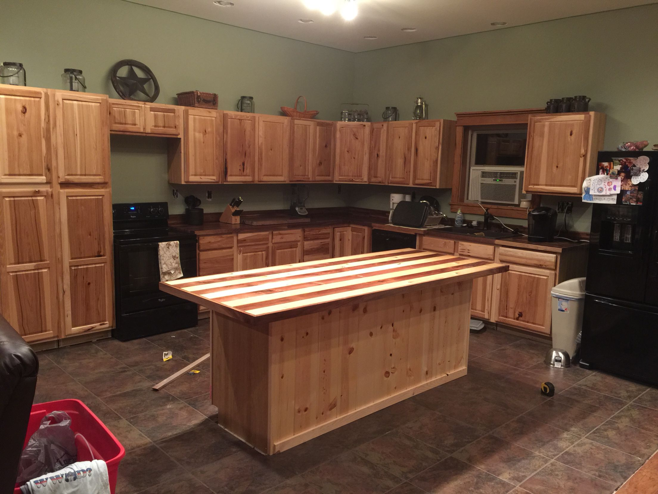 Kitchen Butcher Block Cabinets : Kitchen overview; Hickory Cabinets from Lowes, Walnut butcher block countertop from Lumber ...