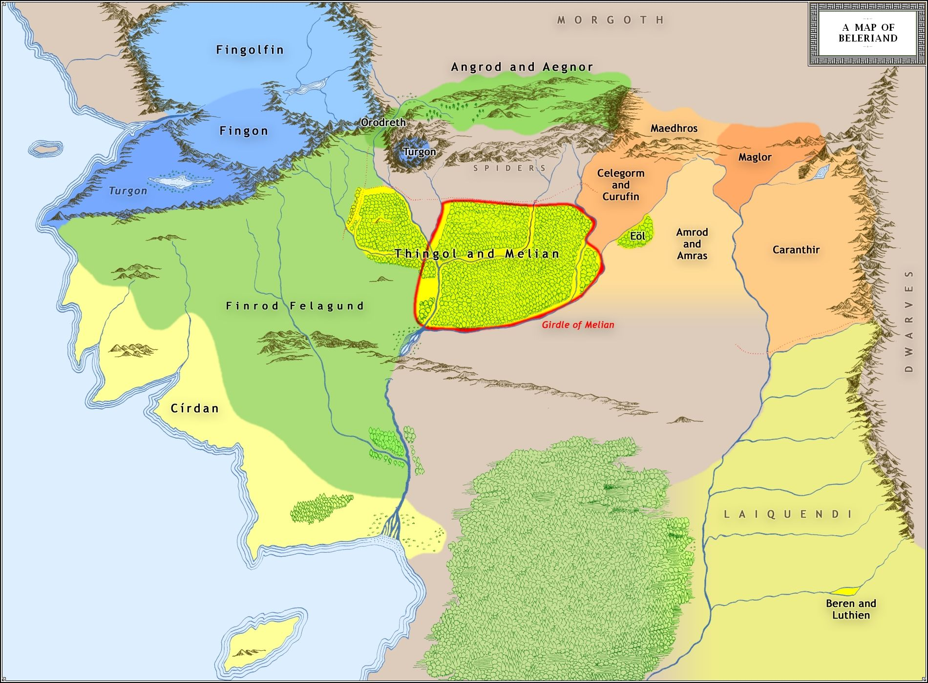 middleearth map of the first age  Question The most powerful