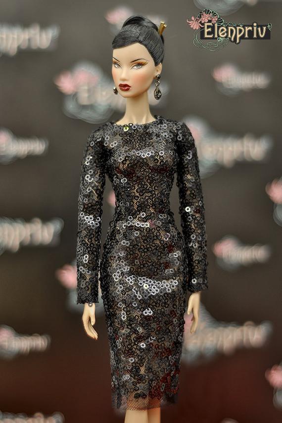 09f6dfc09c ELENPRIV black sequined dress {Choose size} Fashion royalty FR2 Poppy  Parker Blythe Barbie Silkstone