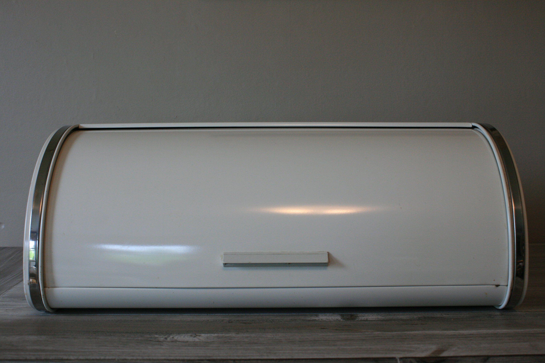 White Bread Box / Farmhouse Bread Box / Metal Roll Front