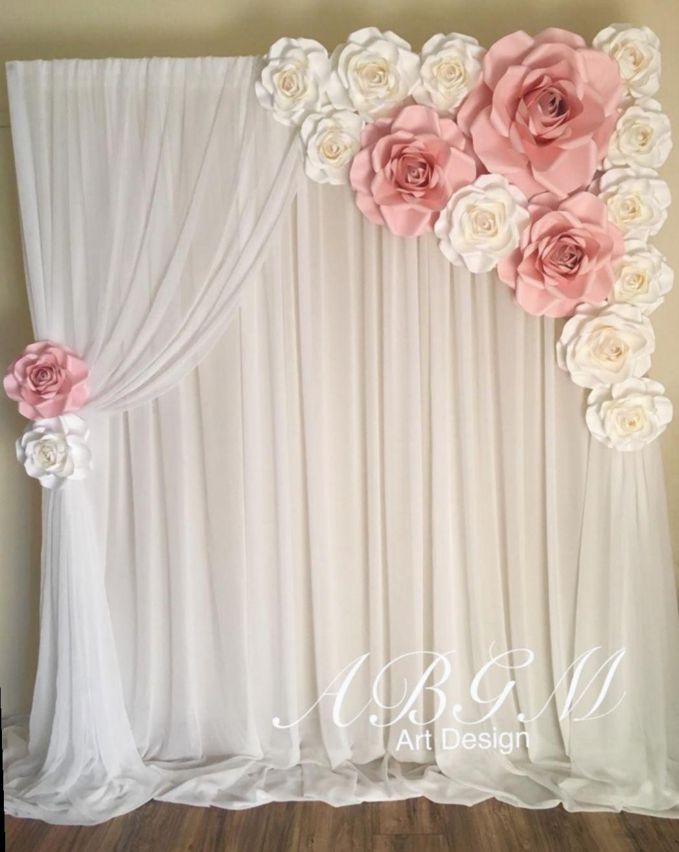 Cute Pink Background Backdrop Ideas Ilhadogovernador Acfotografia Aderitacristina Paper Flower Backdrop Flower Backdrop Wedding Decorations