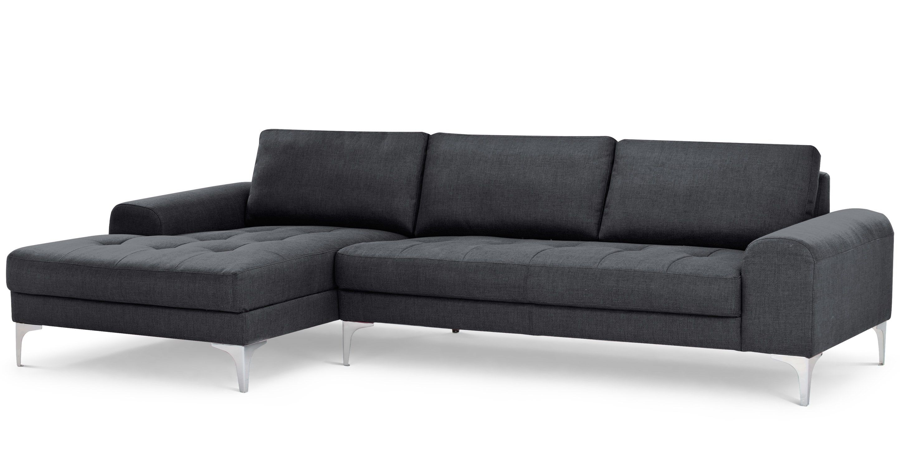 The Vittorio Left Hand Facing Corner Sofa Group In Anthracite Grey