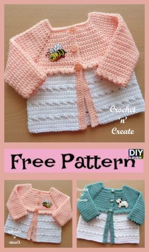 Sweet Crochet Baby Coat - Free Pattern   crochet girl dresses, baby ...