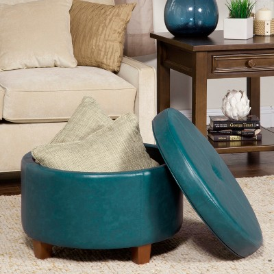 Superb Homepop Large Faux Leather Round Storage Ottoman Teal Theyellowbook Wood Chair Design Ideas Theyellowbookinfo