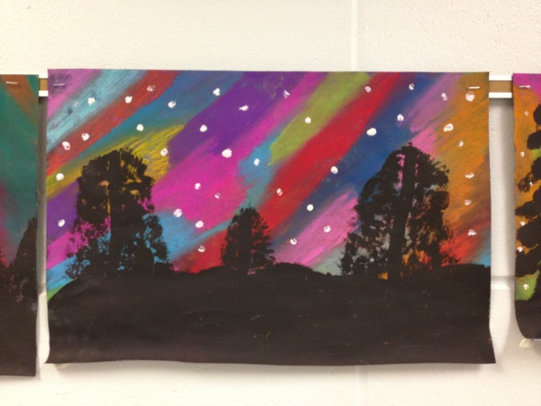 5th grade- science and art: Northern lights | Northern lights art,  Elementary art, Northern lights art lesson