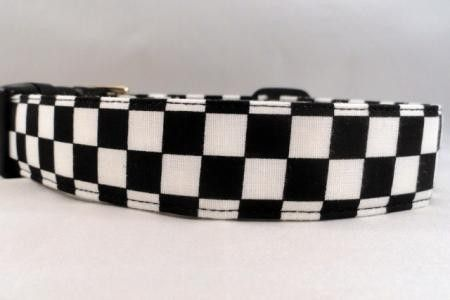 And The Checkered Flag Drops Black and White Checked Dog Collar - Maltipaws