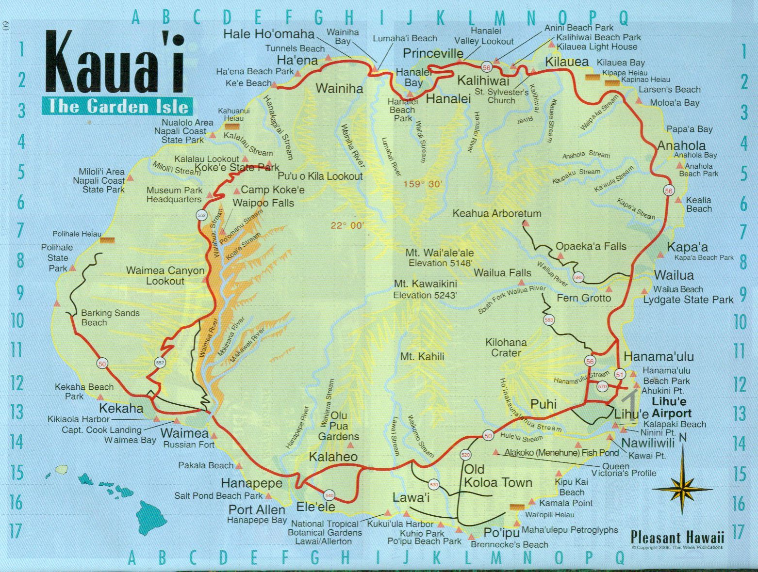 Modest image throughout printable map of kauai