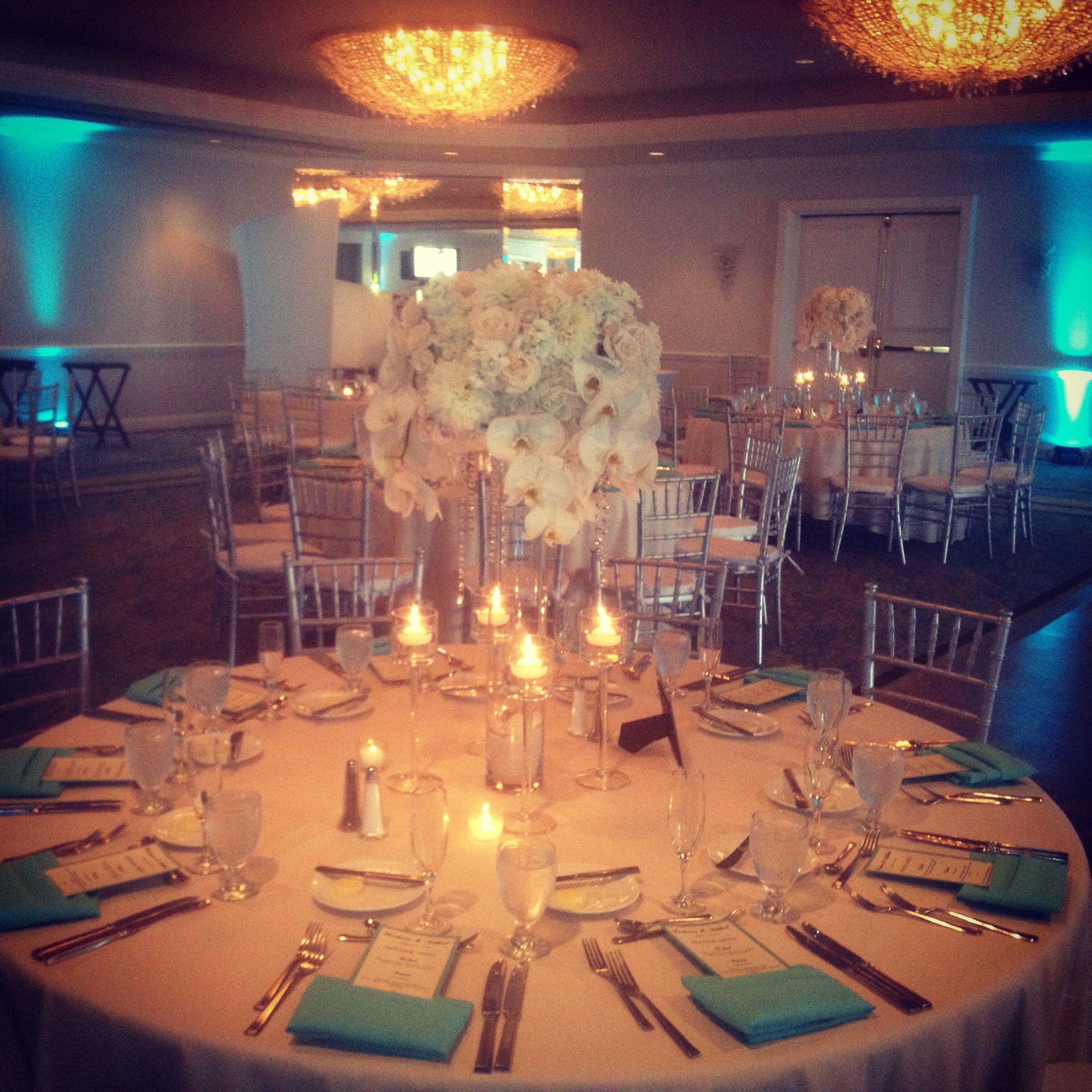 Teal Wedding Ideas For Reception: Teal And White Reception Decor #sdweddingsbygina
