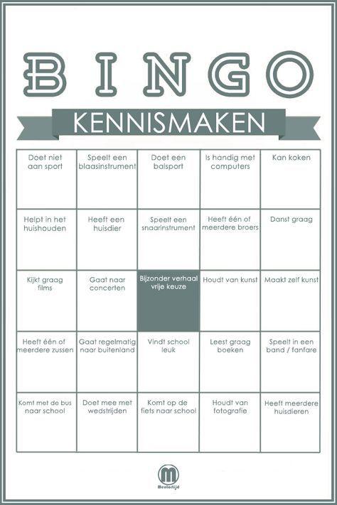 Zeer Leer je nieuwe klas kennen met deze bingo. - Algemeen school  LT64
