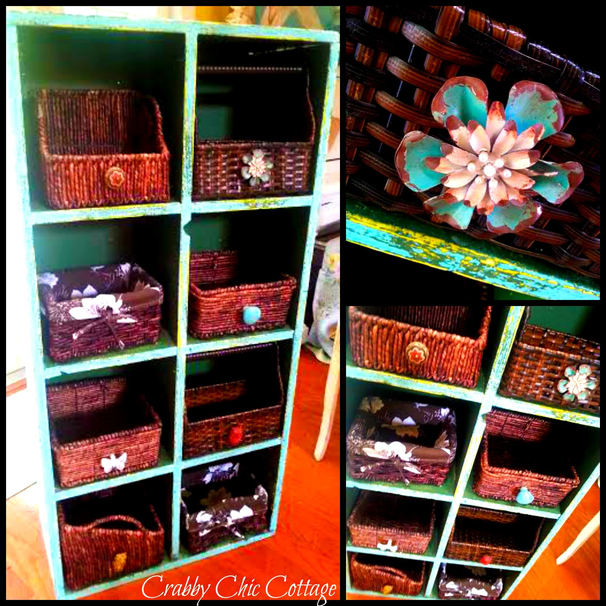 Boho Chic Cubby Shelf With Baskets Basket Shelves Cubby Shelves Cubbies