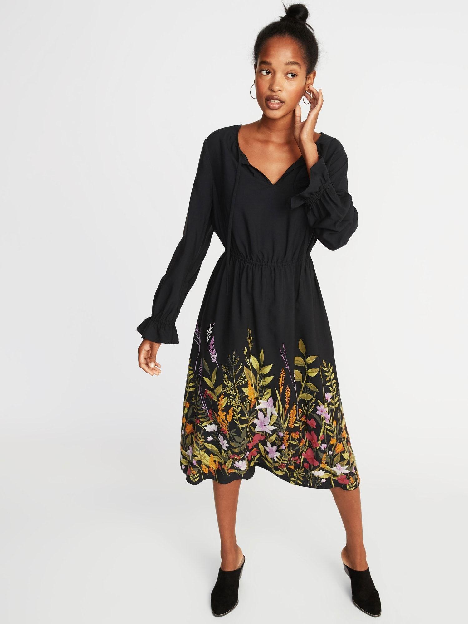 Poet Sleeve Waist Defined Midi For Women Old Navy