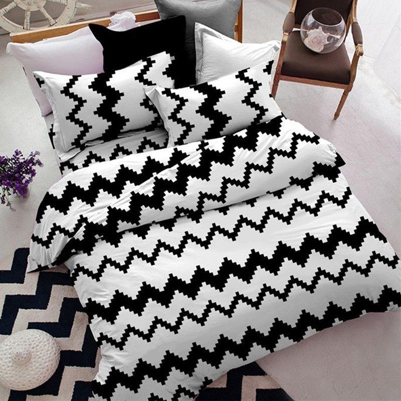 basic black and white duvet cover set full