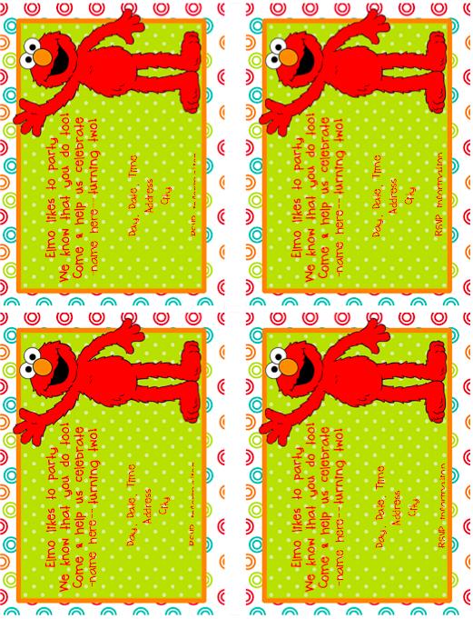 Editable Elmo Invitation Labels Pinterest - Free printable elmo birthday invitations template