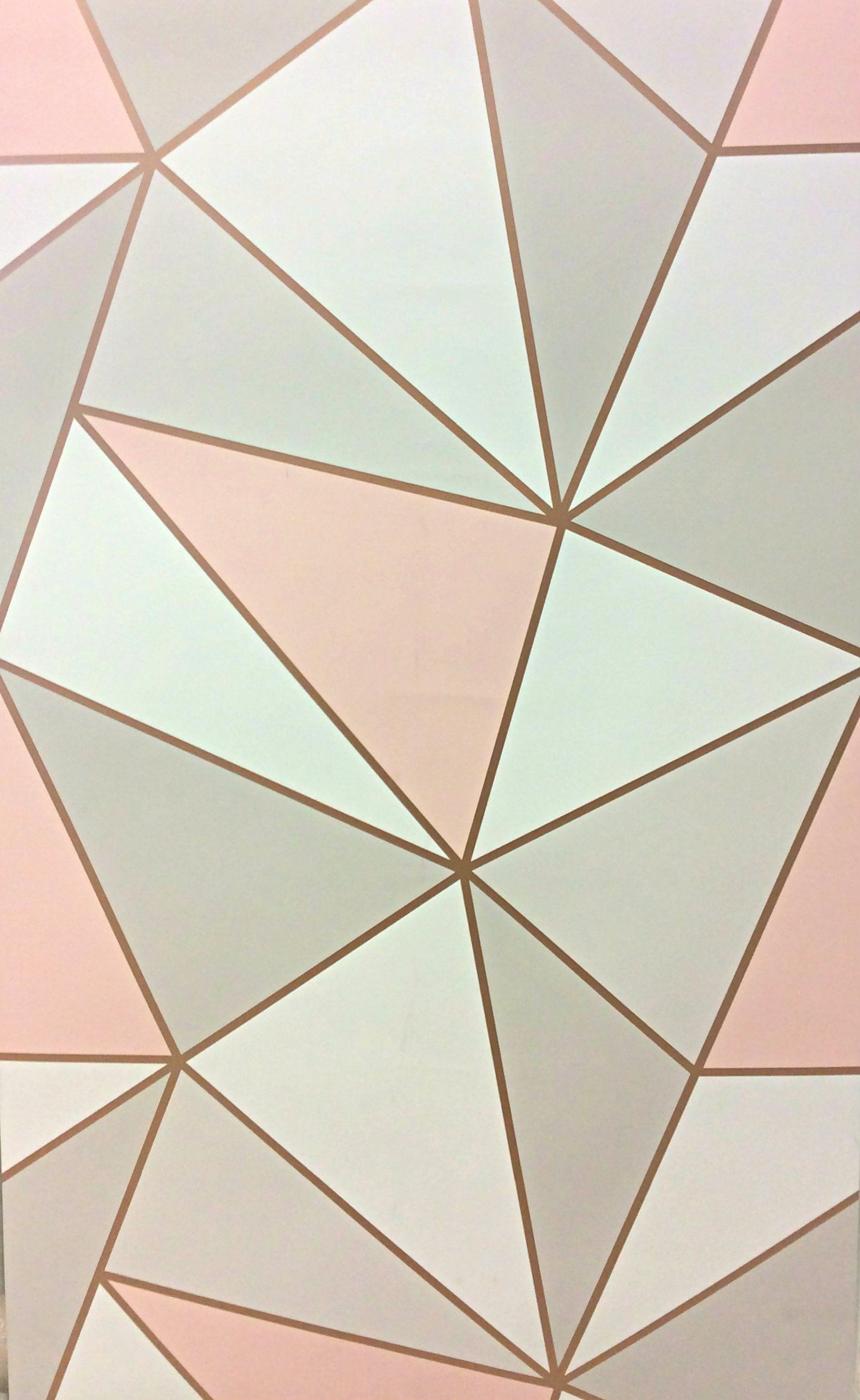 Apex Geometric Design In Rosegold Pink White And Copper 10 Metres