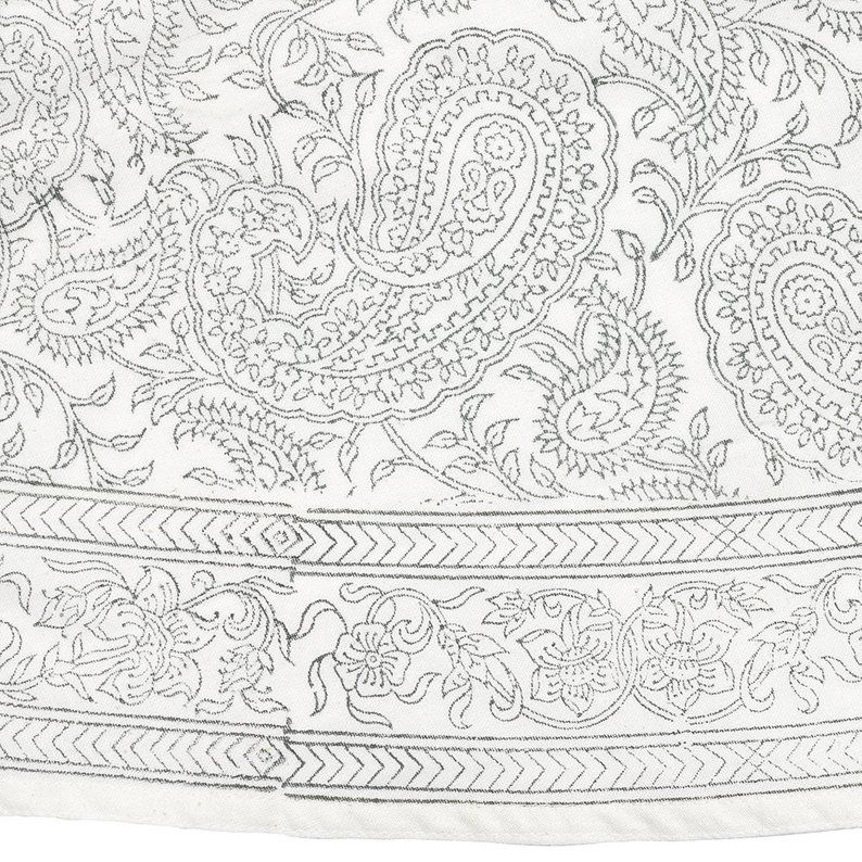 Tablecloth round 150 cm with Oriental Pattern Paisly Hand-Printed
