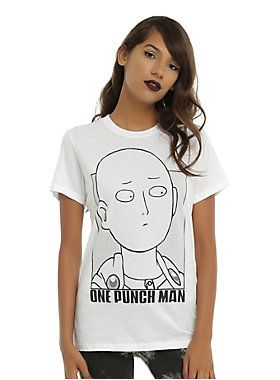 df1312403 You're sure to be a knockout in this fitted white tee from <i>One Punch Man</i>  featuring a large Saitama character design on front.