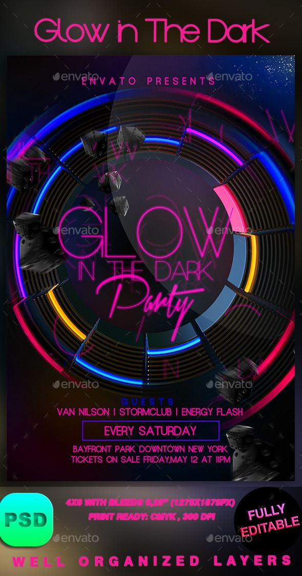 Glow in The Dark | Flyer template, Dark and Font logo