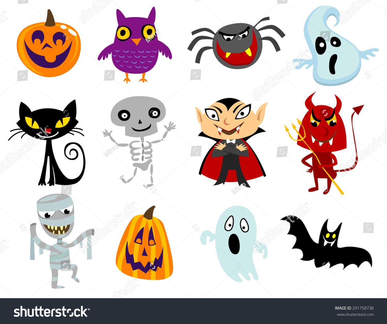 Set Of Funny Halloween Cartoons Cute Halloween Characters