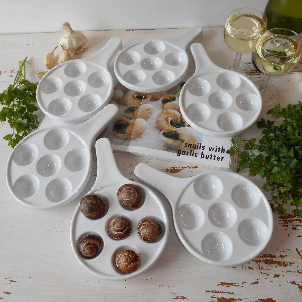 Vintage Escargot Snail Baked Mushroom Ceramic Oven Bakeware French Cooking Utensil Casserole Dish