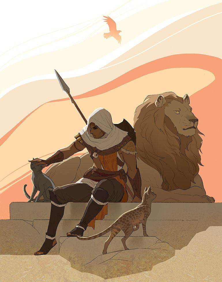 Ac Origins Fan Art You Can Tame Creatures Like The Lion And They Ll Fight For You And You Can Also Pet Assassin S Creed Assassins Creed Art Assassins Creed