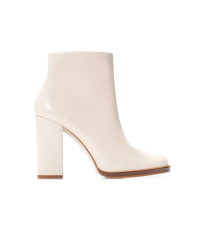 Zara Wide Heeled Leather Bootie in White
