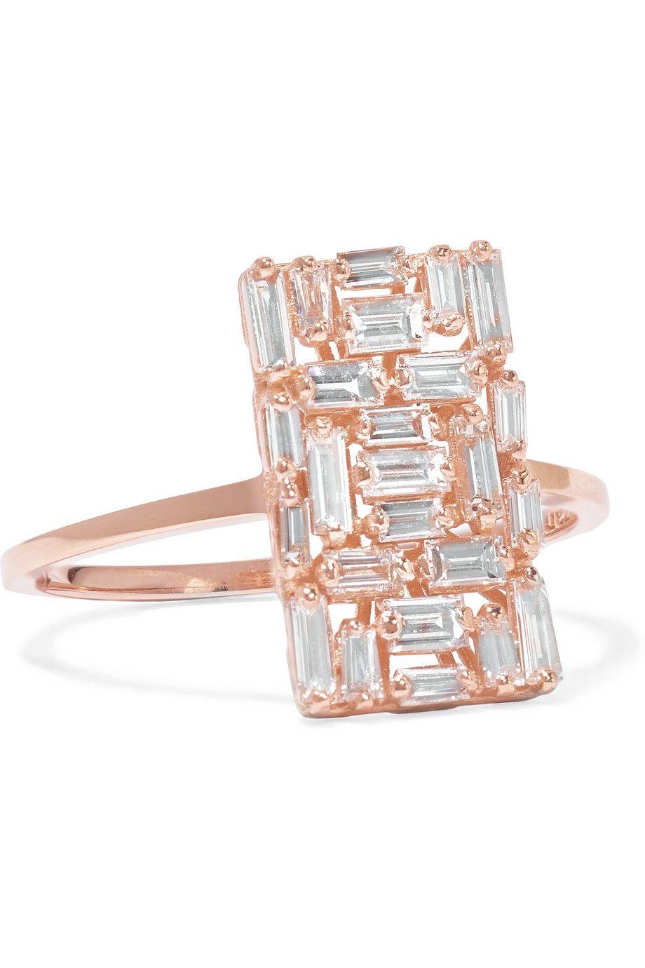 Suzanne Kalan 18-karat Rose Gold Diamond Ring n8UVd