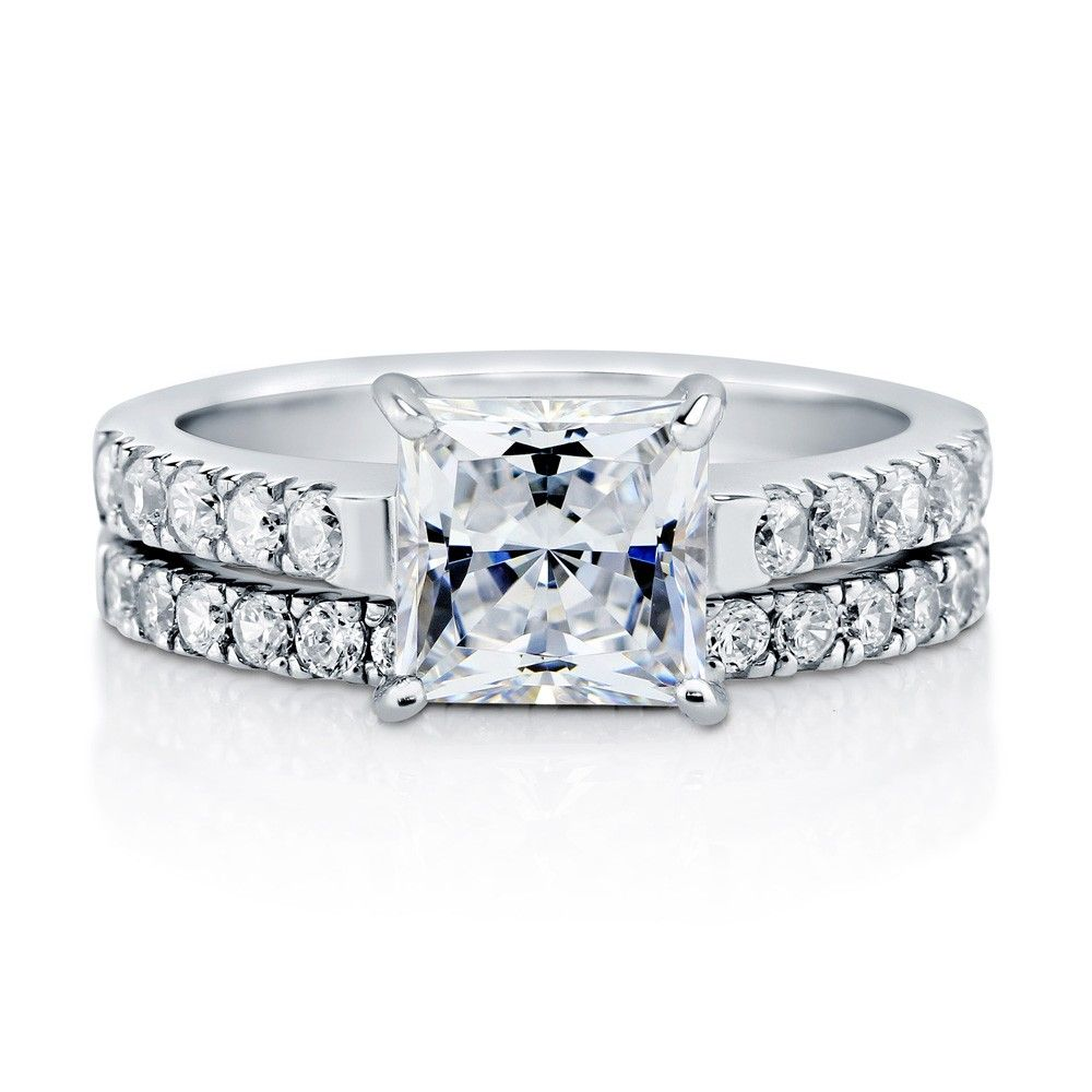 Sterling silver princess cz solitaire ring set ctw solitaire