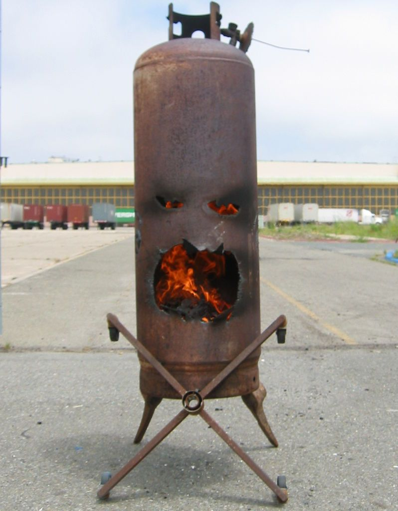 Fire Face Outdoor Chiminea From An Old Propane Tank